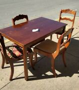 Duncan Phyfe Rose Back Chairs 4 And Table