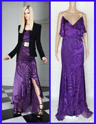 Pre-fall 2011 Look 5 Versace Purple Floral Gown Dress 38 - 2