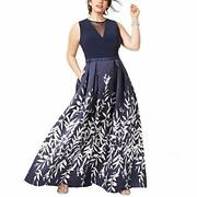 Morgan And Co. Womenand039s Mikado Plus Size Illusion V Neck Ball Gown Dress Blue 18 W