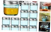 Pack 4 Oz Regular Mouth Glass Jars With Silver Metal Airtight Lids, 4oz 12