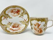 Kpm Berlin Mocha Cup And Saucer, Hand Painted Cherubs, Doves,raised Gold Relief.