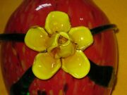 Beautiful Murano Red Speckled Glass Vase Applied Yellow Rose Flower 9 1/2 Inch