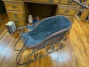 Antique Wicker And Wrought Iron Sleigh..................jor