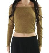 Moa Moa Womenand039s Knit Top Mustard Brown Size Xs Off-shoulder Ruffled Ribbed 944