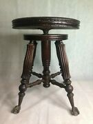 Late 1800s Victorian Tonk Chicago Claw Glass Ball Foot Swivel Piano Organ Stool