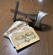 Antique Vintage Stereoscope 3d Photograph Viewer With 29 Cards - Some Macabre
