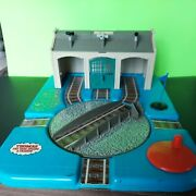 1993 Thomas The Tank Engine Train Shed Rare Blue And Clear Press And Ring And Rotate.