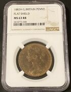 British Copper Coins 1882h Penny Flat Shield Ngc Ms63rb