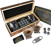 Whiskey Glass Set C. Cutter And Whiskey Stones Included Reusable Ice Cubes New