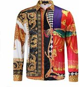 Mens Luxury Brand Printed Silk Like Satin Button Down Dress Shirt For Party Prom