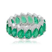18k White Gold Pear Shape Emerald Band Ring Si Clarity Hi Color Diamond Jewelry