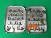 Vintage Wheatley Silmalloy Clip Fly Box. Approx 33 Fishing Flies