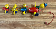Vintage 1950s Fisher Price Baby Ducks Pull Toy Flapping Wings Quacking