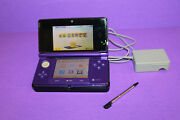 Nintendo 3ds Midnight Purple Portable Gaming Console Stand And Charger