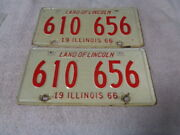 1966 Illinois License Plate Steel Rare Pair 610-656 Two     Jrs