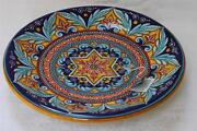 Sberna Deruta Large Round Footed Centerpiece Bowl - Made In Italy - New