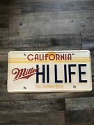 Miller Hi Life California License Plate Beer Sign 23 1/2andrdquo X 11 1/2andrdquo Very Rare
