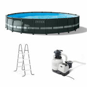 Intex 20and039 X 48 Ultra Xtr Frame Round Swimming Pool Set With Sand Filter Pump
