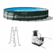 Intex 20' X 48 Ultra Xtr Frame Round Swimming Pool Set With Sand Filter Pump