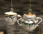 Inge's Christmas Heirlooms Holiday Teapot And Teacup Ornament German Glass