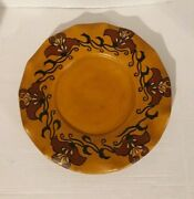 Large Ceramic Pottery Charger Plate / Folk Art / Handpainted Mustard Floral