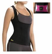 Hot Shapers Womenand039s Cami Belly Fat Burn Sauna Shirt W/ Waist Trainer Black Large