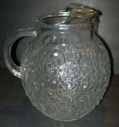 Anchor Hocking Milano Clear Glass 96 Oz Ball Pitcher Ice Lip Textured Vintage