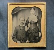 C 1864 Sexy Young Woman And Older Husband Civil War Era Tintype 6th Plate Photo