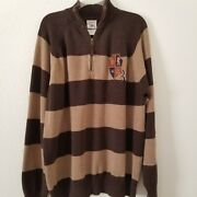 Disney Store Grumpy Sweater 1/4 Zip Brown Striped Embroidered Crest 37 Menand039s Med