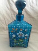 Vintage Cobalt Blue Hand Painted Triangle Decanter. 7tall 3 Wide