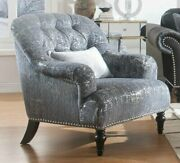 Acme Gaura Chair With 1 Pillow In Pattern Gray Fabric Finish 53092