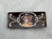 Very Old Miniature Antique Limoges Enamel Portrait Panel From Snuff Box