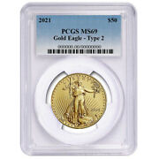 2021 50 Type 2 American Gold Eagle 1 Oz. Pcgs Ms69 Blue Label