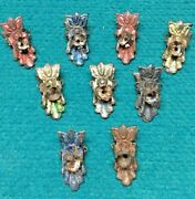 Antique Christmas Tree Candle Holder Spring Clips Tin Metal @ Lot Of 9