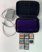 Nintendo 3ds Midnight Purple Usa English Ctr-001 - Tested With 8 Games Mario