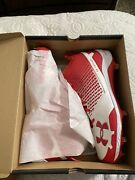 Under Armor Heater Mid St Red Baseball Cleats Size Us 12