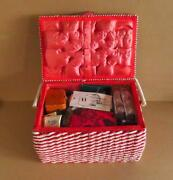 Cool Retro Red And White Vintage Wicker Sewing Basket W/ Trays, Thread, Kits, More