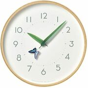Lemnos Wall Clock Analog Swallowtail Butterfly Analog Natural Wood Sur18-16 Ageh