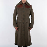 Nigel Cabourn Womens Wool Great Coat In Army Green Sizes 8 10