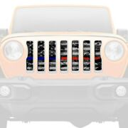 For Jeep Wrangler 18-20 Main Grille 1-pc Dirty Grace Tactical American Flag