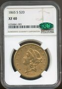 1865 S 20 Gold Liberty Double Eagle Xf 40 Cac Ngc Civil War Date