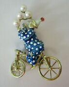 Martine14k Gold Enamel Clown On Bicycle W/pearl Balloons Figural Pin Brooch