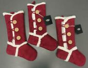 Lot 3 Ugg Christmas Holiday Stockings Faux Suede Bailey Burgundy 21 X 12 New