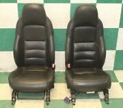 08' C6 Black Pair Leather Power And Manual Buckets Oem Non-memory Hot Rod Seats