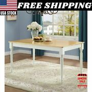 Autumn Lane Farmhouse Dining Table White And Natural Room Kitchen - Table Only New