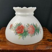 White Glass Hurricane Lamp Shade Red Floral Design Replacement Light Shade