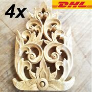 4x Teak Wood Carved Flower Wall Art Home Decor Thai Vintage Collectible Gifts