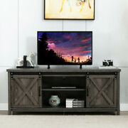 58 Farmhouse Sliding Barn Door Tv Stand For Tvs Up To 65 Stand Storage Cabinet