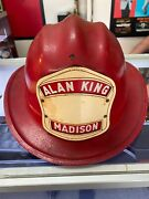 Vintage Red L.t. Alan King Madison Fire Helmet Cairns. And Brother Inc.new Jersey