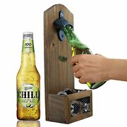 Vintage Wall Mounted Wooden Bottle Opener With Cap Catcher, Ideal Gift Rustic